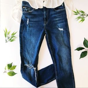 7 for all mankind high rise distressed skinny jean